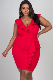 Plus Size Sleeveless Ruffle Neckline Mini Dress