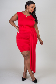Plus Size Sleeveless Mini Dress That Features Drape Detail