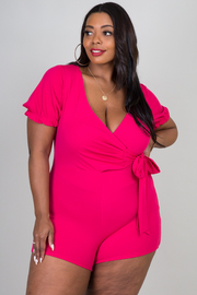 Plus Size Deep V-Neck Line Short Sleeve Romper With Tie-up At Waist