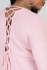 Plus Size Crew Neck Long Sleeve Tee Crisscross Tie-Up Back