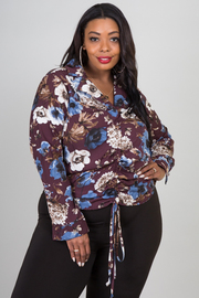 Plus Size Long Sleeve Floral Top