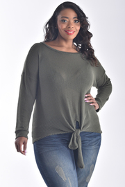 PLUS SIZE LONG SLEEVE BOW BOTTOM SWEATER TOP