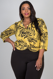 Plus Size 3/4 Sleeve Leave Print Blouse