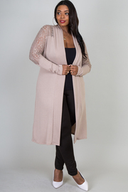 Plus Size Long Sleeve Lace Detail On Sleeve and Shoulder Long Cardigan