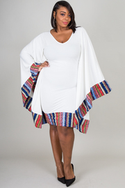 V-NECK LONG SLEEVE WITH EDGE PRINTED POINT FITTED DRESS