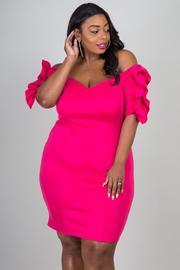 Plus Size 3/4 Ruffle Sleeve Dress