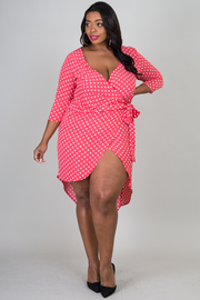 Plus Size 3/4 Sleeve Polka Dot Wrap Dress