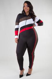 Plus Size Long Sleeve Print Jumpsuit
