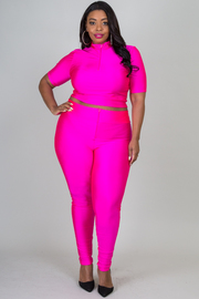 Plus Size High Neck Short Sleeve Crop Top And Legging Set