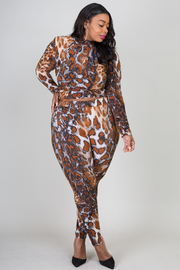 Plus Size Leopard Print Long Sleeve Crop Top and Legging Set