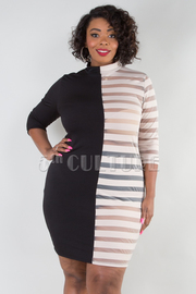 PLUS SIZE Mock neck black and see-through striped mesh mini dress