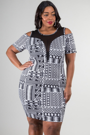Plus Size Fitted Cold Shoulder Aztec Pint Dress