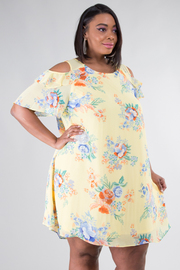 Plus Size Cold Shoulder Floral Dress