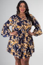 Plus Size Long Bell Sleeve Short Dress