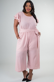 Plus Size Short Sleeve Ties At The Waist Wide Leg Jumpsuit