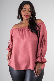 Plus Size Off The Shoulder Peasant Sleeve Top