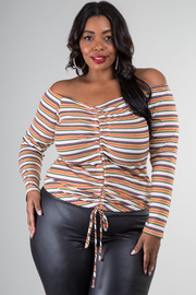 Plus Size Off The Shoulder Long Sleeve With A Scrunch Detail