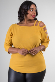 Plus Size Long Sleeve Top With Cut-Out Detail At The Sleeve