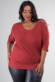 Plus Size 3/4 Sleeve Top With a Crisscross Detail at The Shoulder