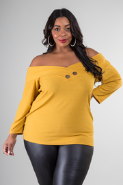 Plus Size Long Sleeve Off The Shoulder Top With Button Detail