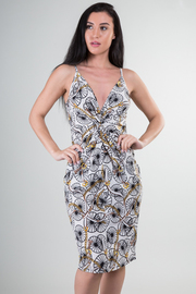 Spaghetti Strap Deep V-Neck With Twist Detail Print Knee Dress