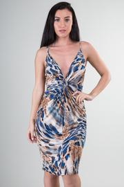 Sleeveless Deep V-Neck Leopard Print Knee Dress