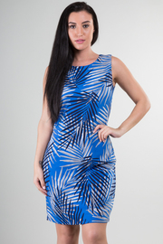 Sleeveless Palm Tree Leave Print Knee Dress