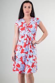 Short Sleeve Twisted V-Neck Floral Knee Dress