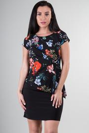Short Sleeve Asymmetrical Floral Mini Dress