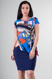 Asymmetrical Multi Color Print Mini Dress