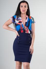 Short Sleeve V-Neck Knee Dress