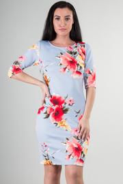 3/4 Sleeve Crew Neck Big Flower Print Mini Dress