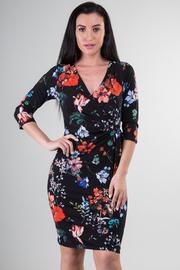 Surplice Tropical Floral Midi Dress