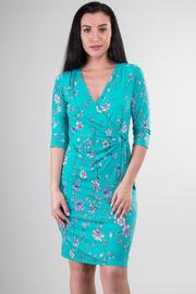 3/4 Sleeve Vine of Flowers Print Midi Dress