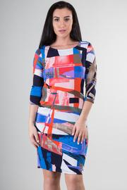Long Sleeve Color Block Midi Dress