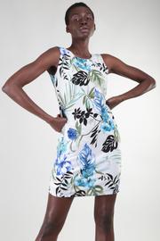 Long Sleeve Feather Print Midi Dress