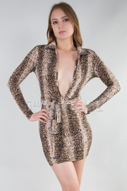 Long Sleeve Deep V-Neck With Belt Mini Dress