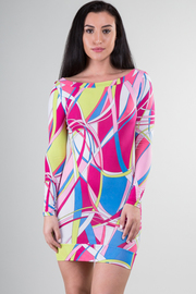 Boat Neckline Long Sleeve Multi Color Mini Dress
