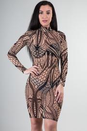 High Neckline Long Sleeve Multi Print See Through Mini Dress