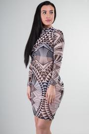High Neckline Long Sleeve Aztec Print See Through Mini Dress