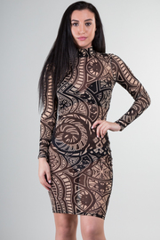 Long Sleeve See Through Mini Dress