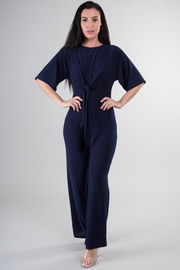 Short Sleeve Tie-Up At The Waist Wide Leg Jumpsuit