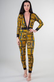 Deep V-Neck Long Sleeve Print Jumpsuit