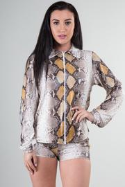 Long Sleeve Zipped Up Collar Top and Short Set