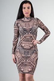 Long Sleeve See Through Print Dress