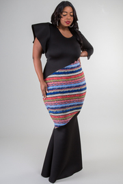 V-neck special sleeve mixed print fitted maxi dress