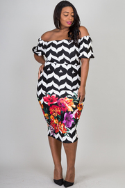 OFF SHOULDER PUFFED SLEEVE FLOWER PRINT ON BOTTOM FITTED DRESS
