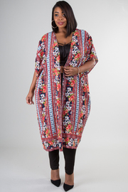 Plus Size Short Sleeve Long Floral Cardigan