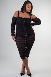 Plus Size See Through Long Sleeve Lace-Up Detail Dress