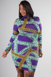 Plus Size Long Sleeve High Neckline Fitted Dollar Print Dress